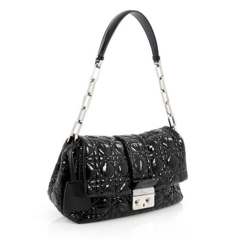 Dior New Lock Flap Bag Cannage Quilt Patent Small CTpNi