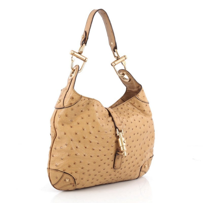 4997afce9 Gucci Piston Lock Jackie Bag Ostrich at 1stdibs