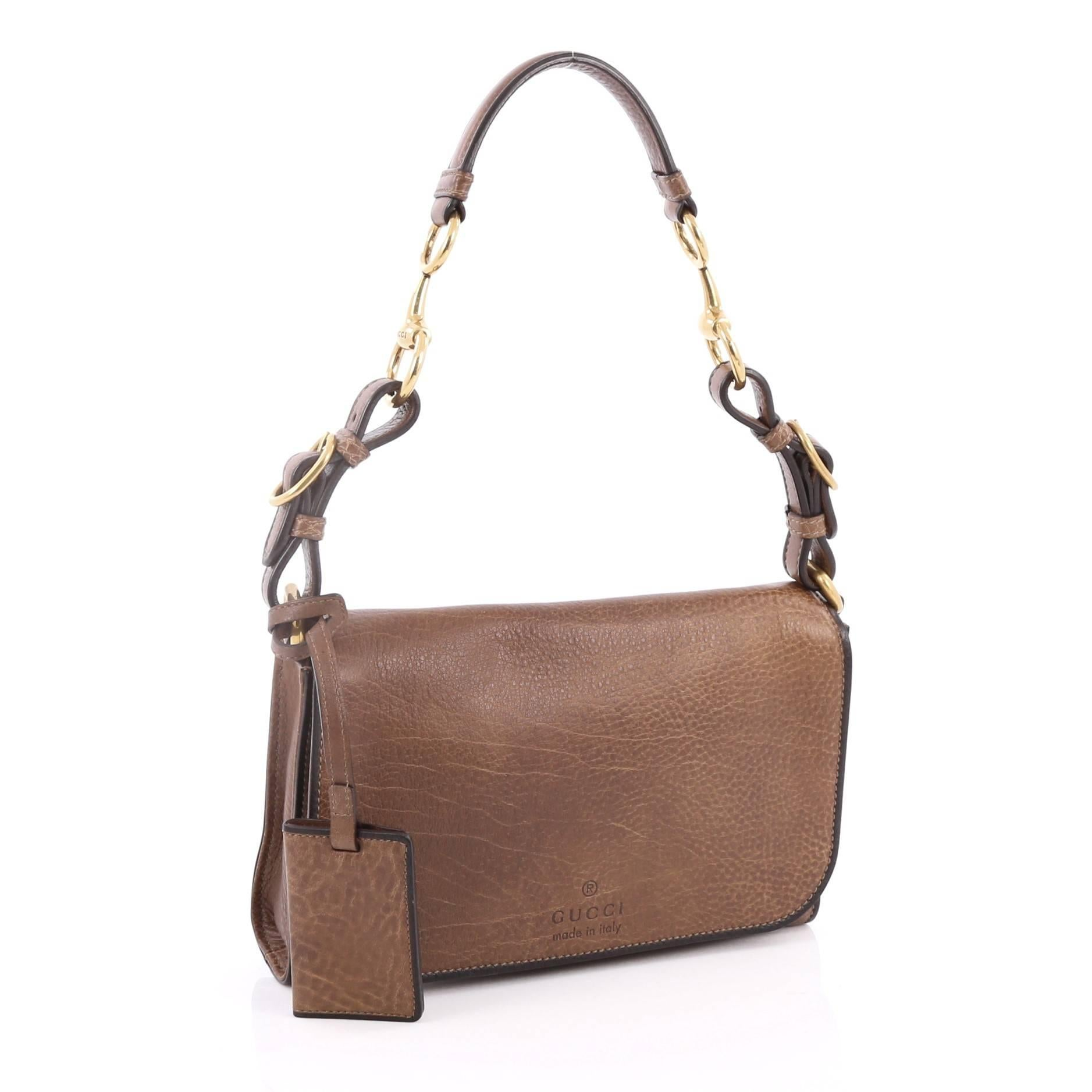 66346010a389 Gucci Harness Shoulder Bag Distressed Pebbled Leather Small at 1stdibs