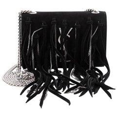 Saint Laurent Classic Monogram Fringe Flap Crossbody Bag Suede Small