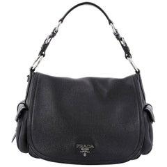 Prada Side Pocket Flap Shoulder Bag Vitello Daino Medium