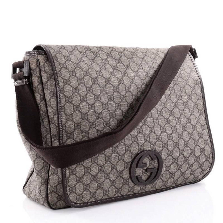 21e7d5749e3 Gucci Interlocking G Messenger Bag GG Coated Canvas Large at 1stdibs