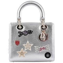 Christian Dior Lady Dior Handbag Patch Embellished Leather Medium