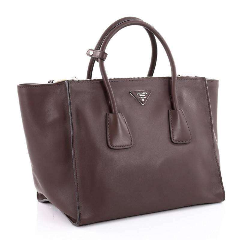 Prada Grey Small Glace Calf Etiquette Shopper Tote Bag Rt. $2,100