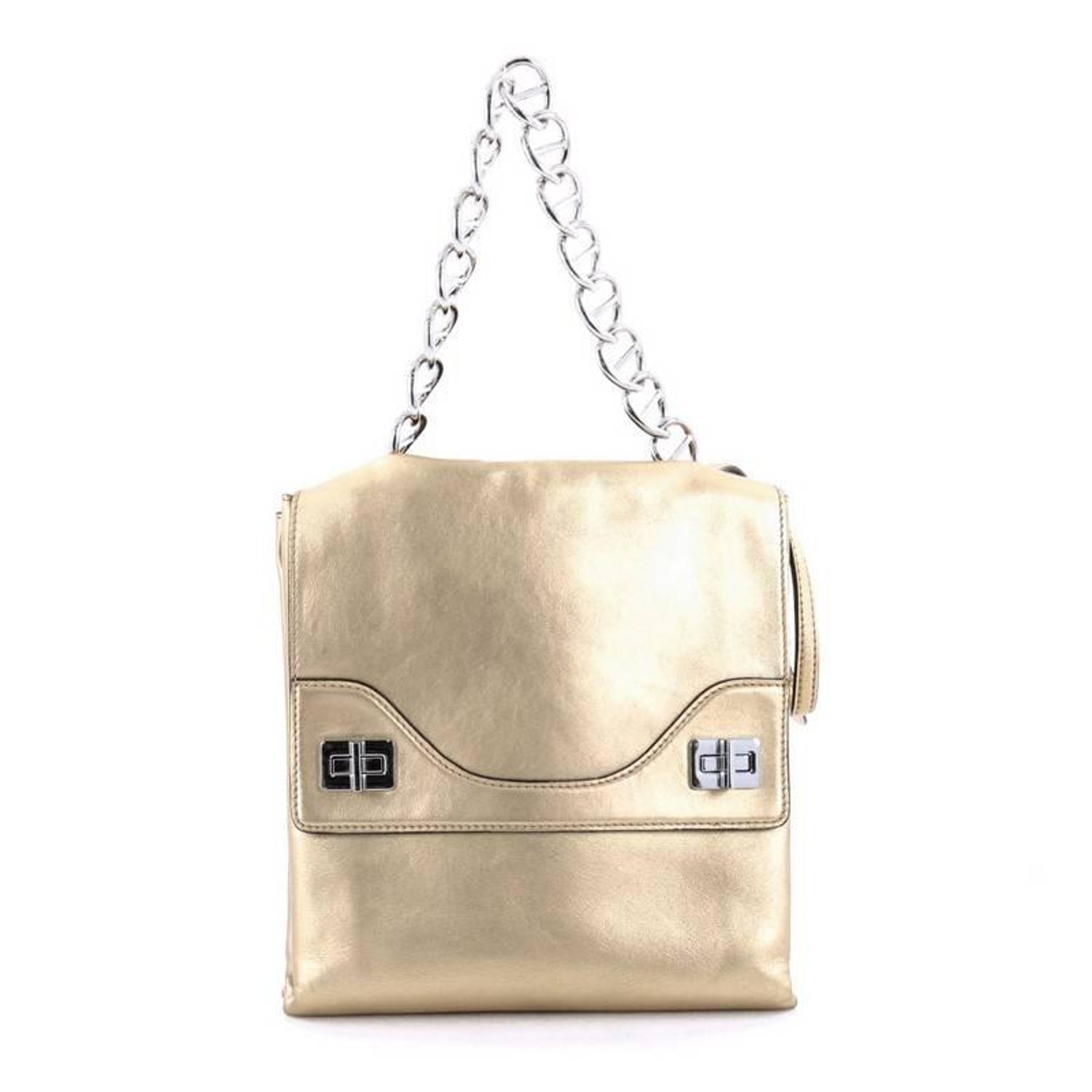 682c945f1d88 Prada Double Flap Turn Lock Shoulder Bag Leather Small at 1stdibs