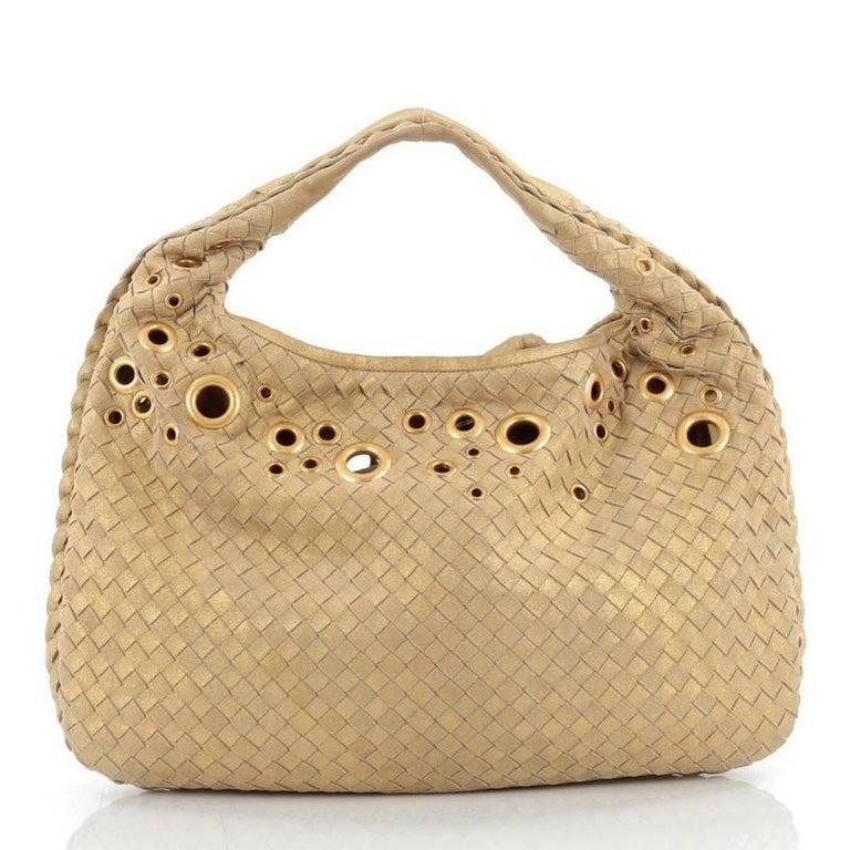 Bottega Veneta Veneta Hobo Intrecciato Leather With