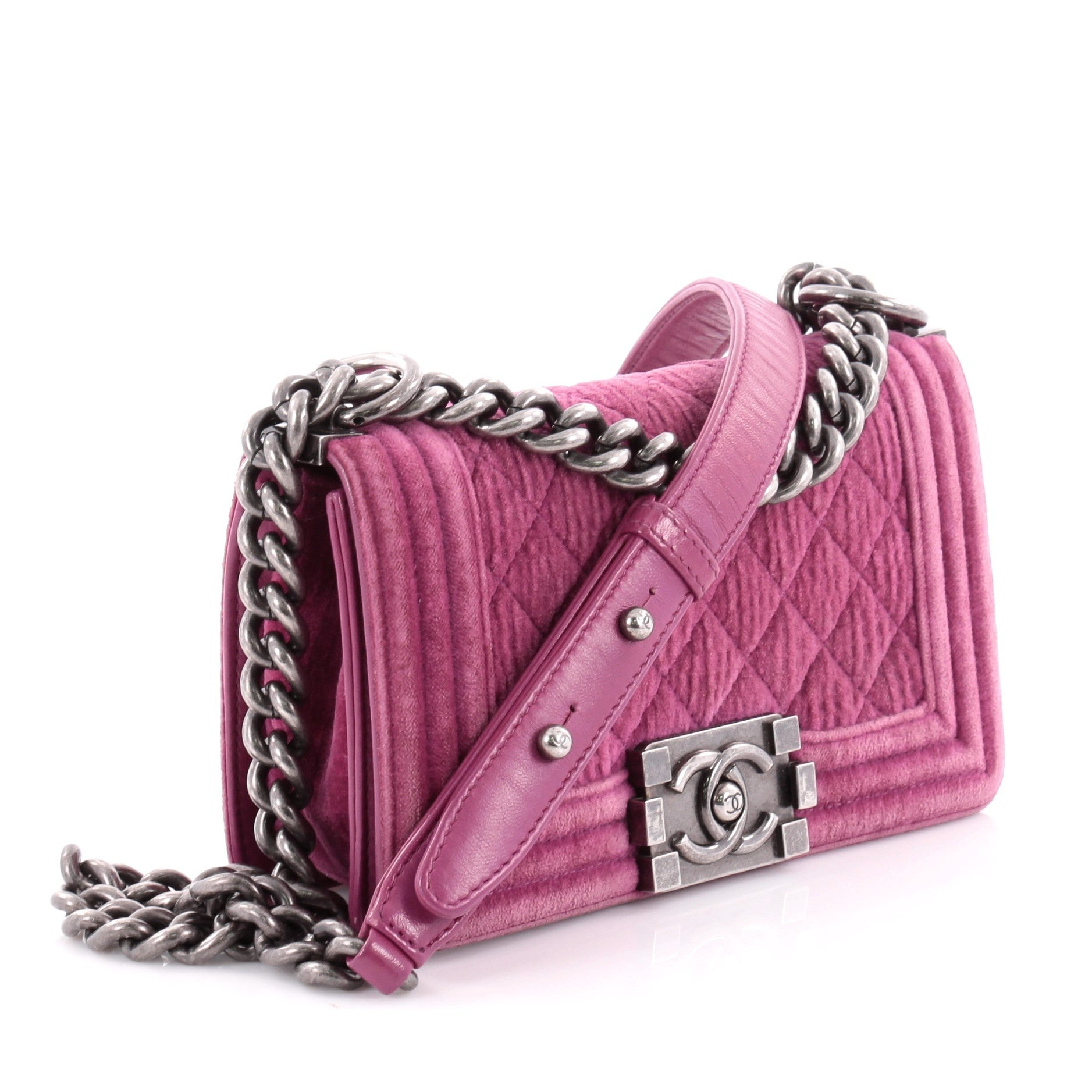 be14767fc793 Chanel Small Quilted Velvet Boy Flap Bag at 1stdibs