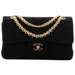 Chanel Bijoux Chain Double Flap Bag Quilted Jersey Small