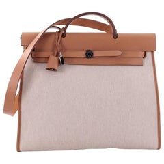 Hermes Herbag Zip Leather and Toile 39