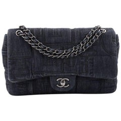 Chanel Classic Flap Bag Embroidered Denim Jumbo