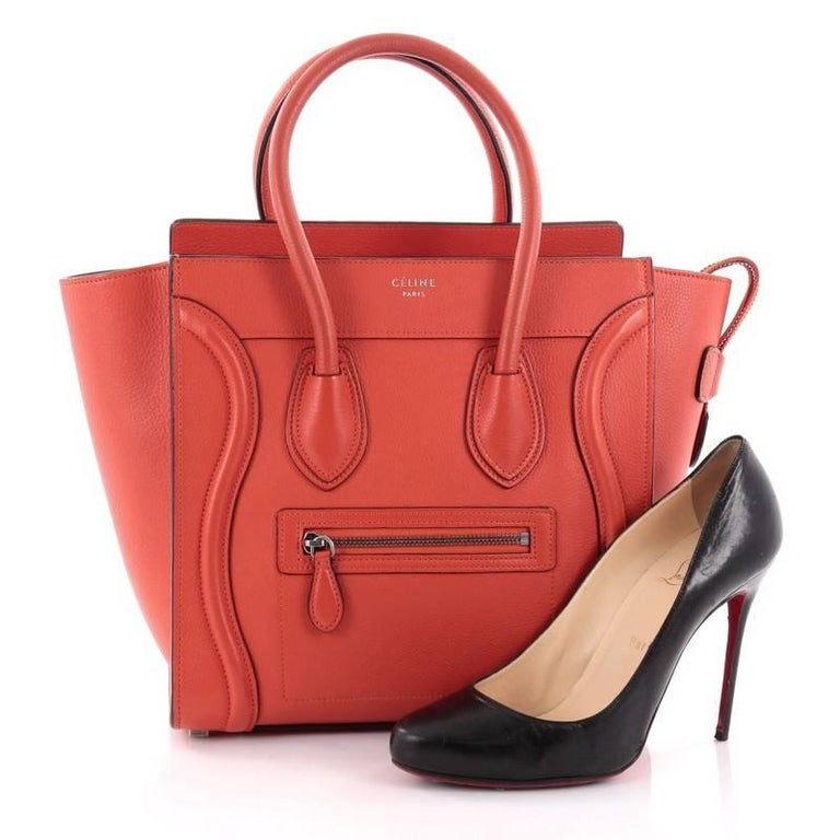 This Authentic Celine Luggage Handbag Grainy Leather Micro Is One Of The Most Sought After