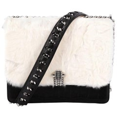 Roberto Cavalli Hera Handbag Crocodile Embossed Leather and Fur Small
