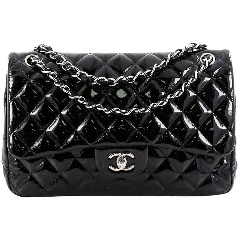 5ce09263344c9f Chanel Classic Double Flap Bag Quilted Patent Jumbo at 1stdibs