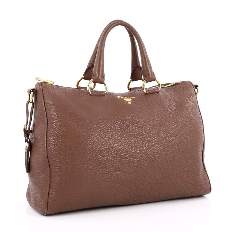 Brown Prada Convertible Zip Satchel Vitello Daino Large For Sale