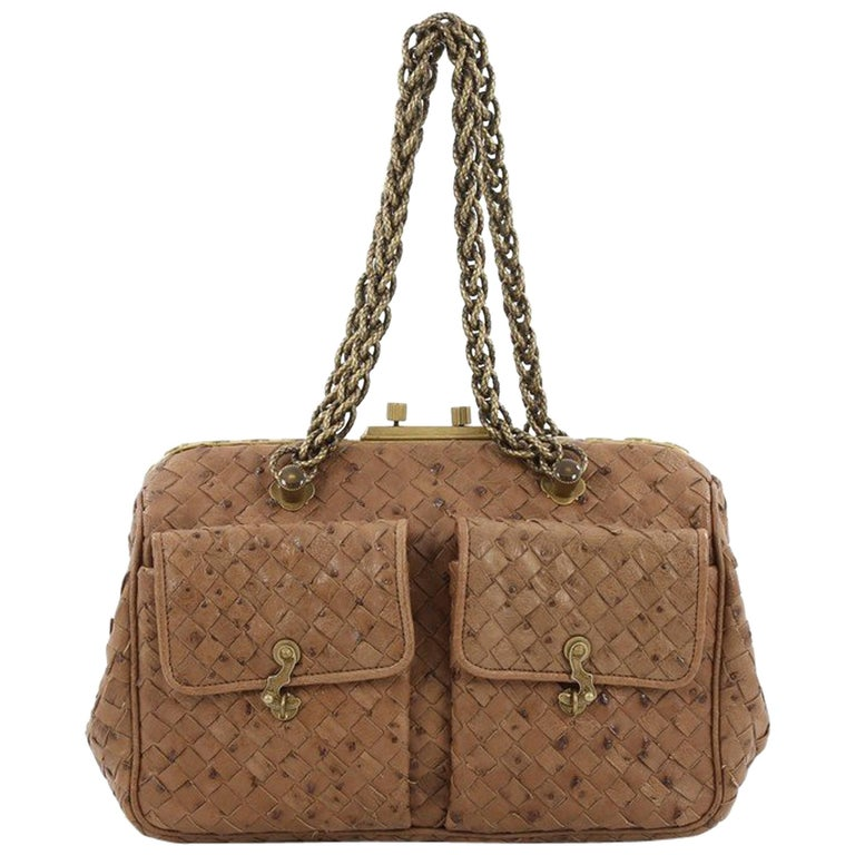 Bottega Veneta Pocket Frame Shoulder Bag Intrecciato Ostrich Medium