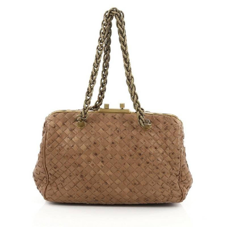 fc2fe352e05 Bottega Veneta Pocket Frame Shoulder Bag Intrecciato Ostrich Medium at  1stdibs