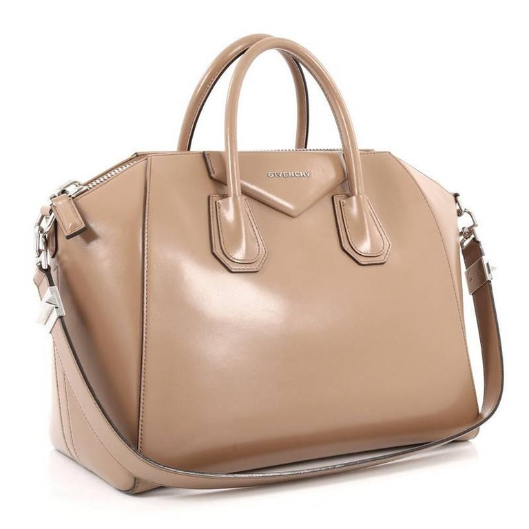 Brown Givenchy Antigona Bag Glazed Leather Medium For Sale