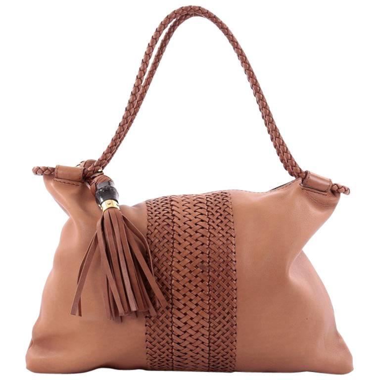 Gucci Handmade Shoulder Bag Leather Medium For Sale