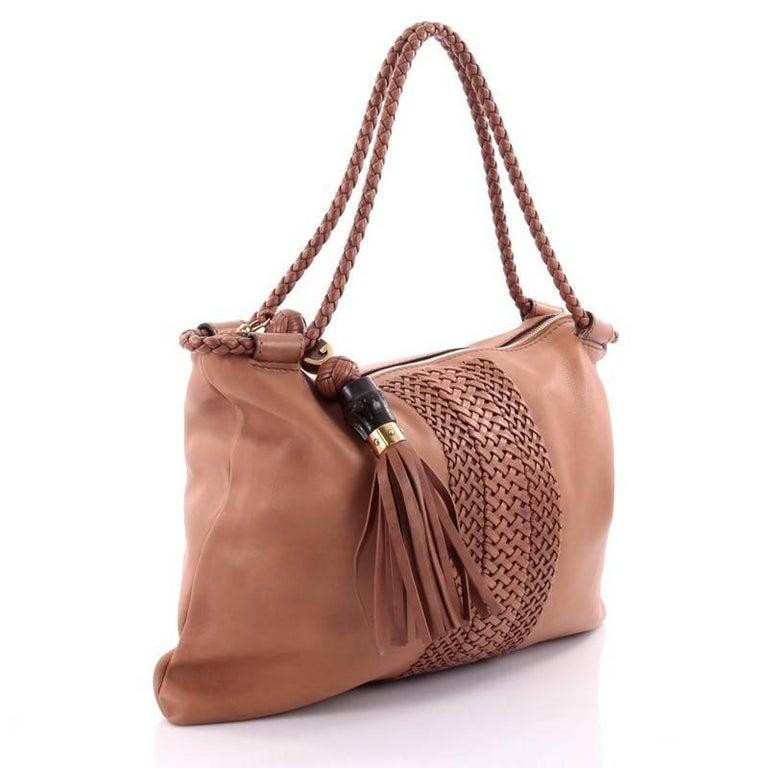 Brown Gucci Handmade Shoulder Bag Leather Medium For Sale