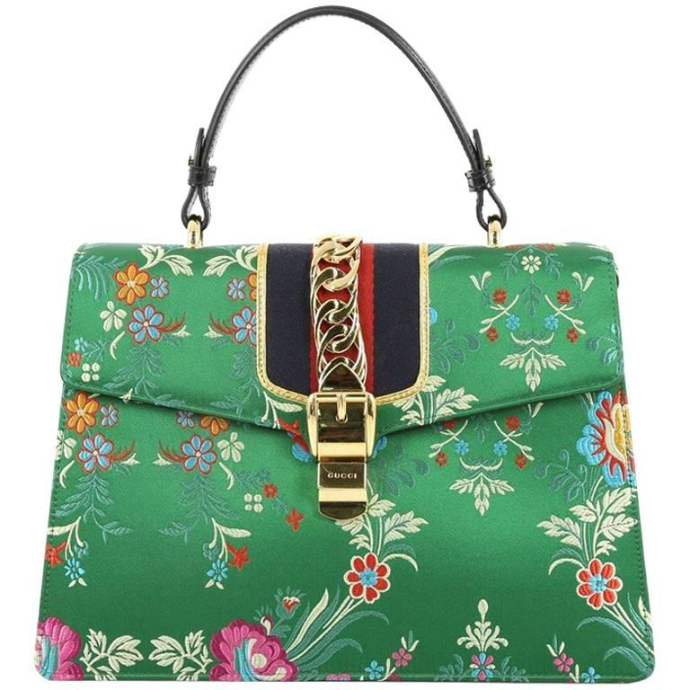 e94f1654395 Gucci Sylvie Top Handle Bag Floral Jacquard Medium at 1stdibs