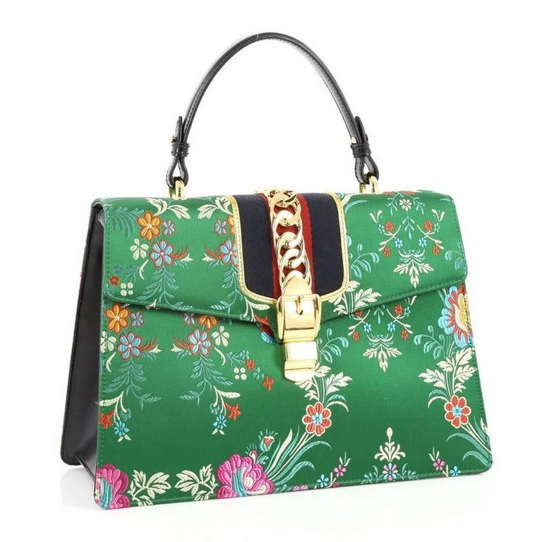 3fd62c0f585 Gucci Sylvie Top Handle Bag Floral Jacquard Medium In Excellent Condition  For Sale In New York