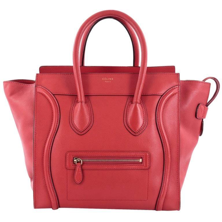 Celine Luggage Handbag Grainy Leather Mini