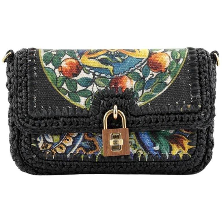 Dolce and Gabbana Miss Dolce Shoulder Bag Raffia and Leather Small at  1stdibs 7fbb28b68773b