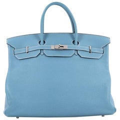 Hermes Birkin Handbag Blue Togo with Palladium Hardware 40