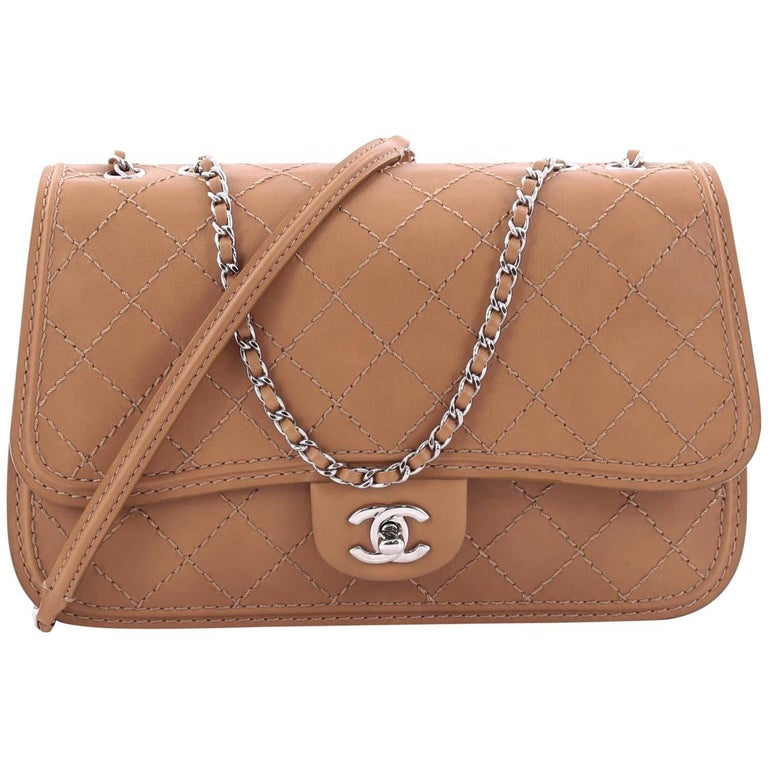Chanel CC Flap Messenger Bag Quilted Calfskin Medium For Sale
