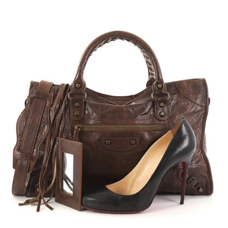 baecd7b9c2f5 Balenciaga City Classic Studs Handbag Leather Medium at 1stdibs