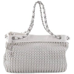 Chanel CC Charm Tote Woven Leather Medium