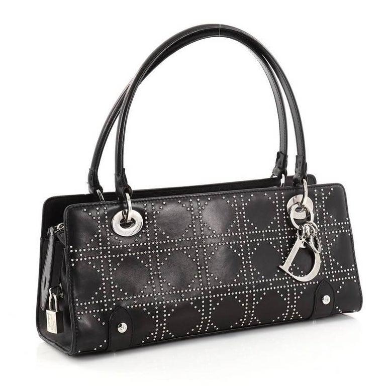 5d5098855063 Black Christian Dior East West Lady Dior Handbag Cannage Studded Leather  Small For Sale