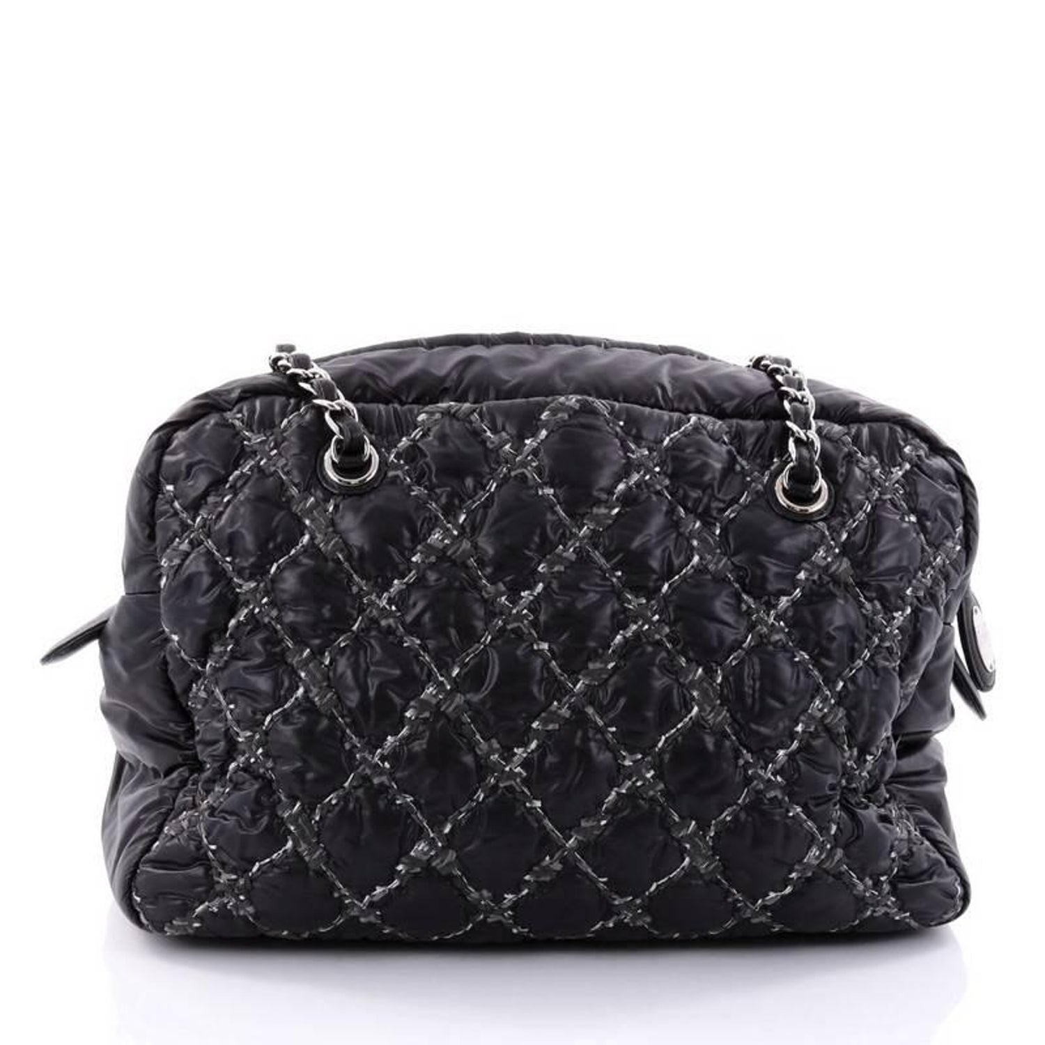 cb73c8abf88a Chanel Tweed On Stitch Camera Case Bag Quilted Nylon Medium at 1stdibs