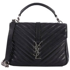Saint Laurent Classic Monogram College Bag Matelasse Chevron Leather Medi