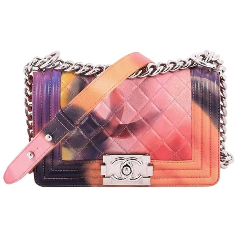 948a610cdad1 Chanel Limited Edition Flower Power Boy Flap Bag Quilted Lambskin Small For  Sale