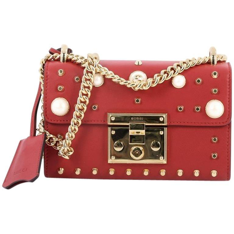 b1ccd5706b Gucci Pearly Padlock Shoulder Bag Studded Leather Small at 1stdibs