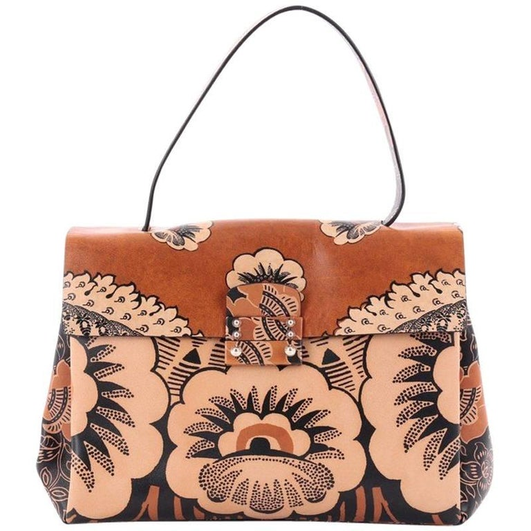 Valentino Floral Top Handle Bag Printed Leather Medium