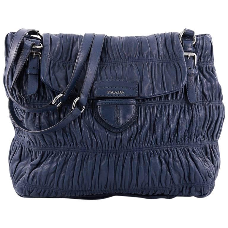 Prada Buckle Strap Shoulder Bag Nappa Gaufre Large