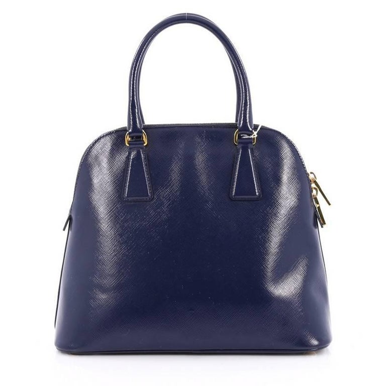 Prada Zip Around Convertible Dome Satchel Vernice Saffiano Leather North  In Excellent Condition For Sale In New York, NY