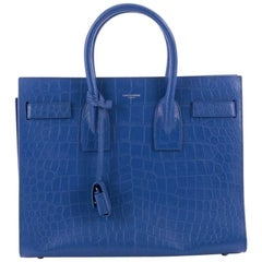 Saint Laurent Sac de Jour NM Handbag Crocodile Embossed Leather Small