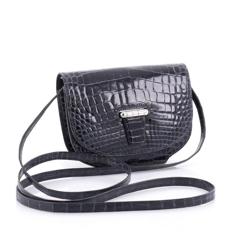 Black Hermes Convoyeur Shiny Alligator Mini Crossbody Bag  For Sale