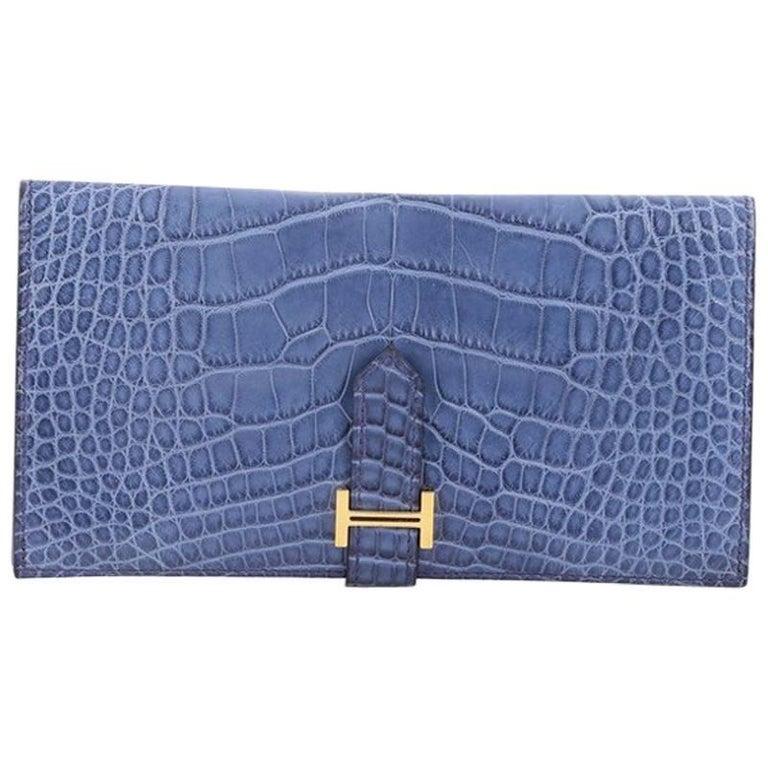 Hermes Bearn Wallet Matte Alligator Long