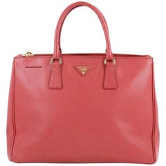 Prada Saffiano Large Double Zip Lux Leather Tote