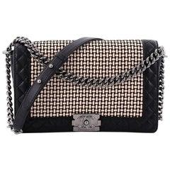 Chanel Reverso Boy Flap Bag Woven Calfskin Old Medium