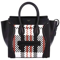 Celine Luggage Handbag Woven Leather Mini