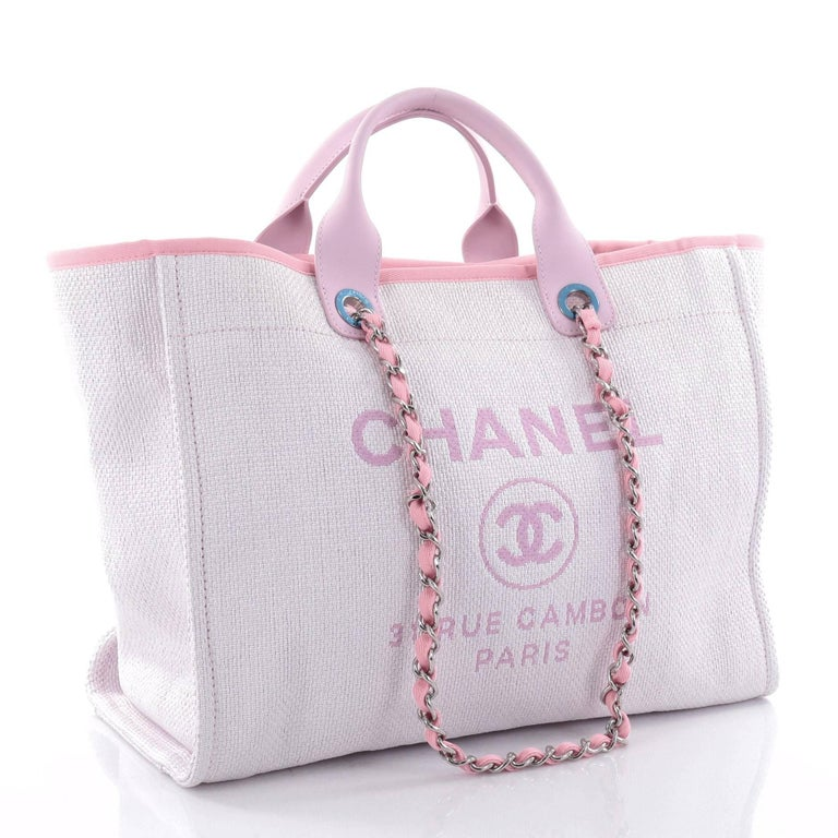 0bb5a524d8f Chanel Deauville Chain Tote Canvas Large