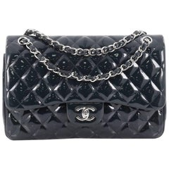 Chanel Classic Quilted Patent Jumbo Double Flap Bag
