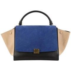 Celine Tricolor Trapeze Handbag Suede Medium