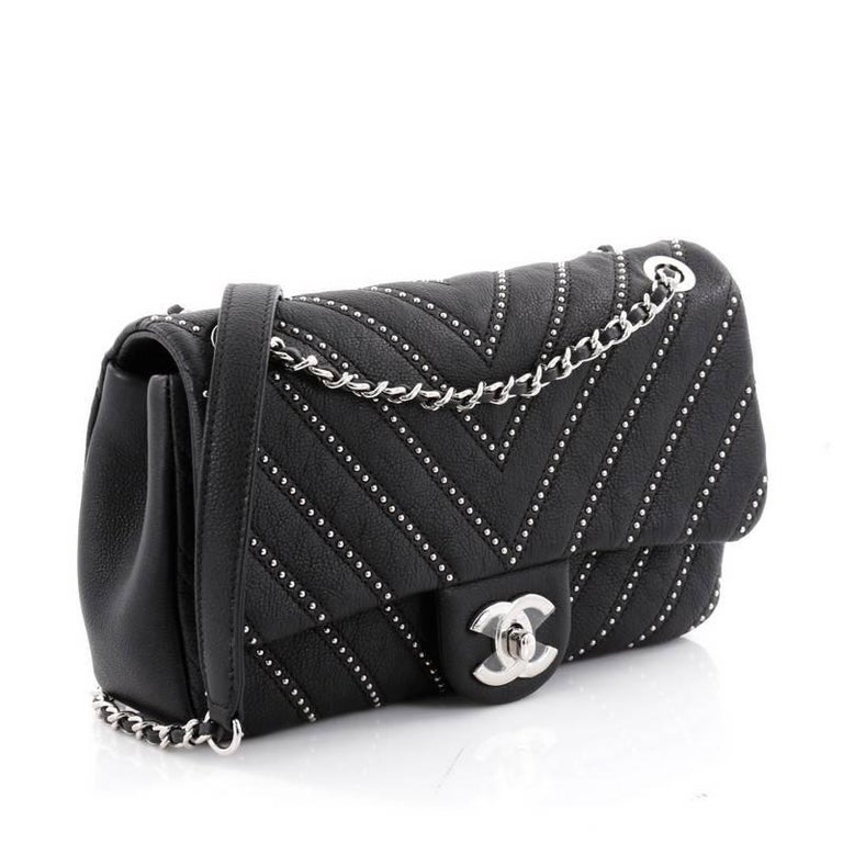 7c949572f839 Chanel CC Chain Flap Bag Studded Chevron Calfskin Small In Good Condition  For Sale In New