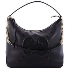 Gucci Chain Hobo GucciGhost Embossed Leather Large